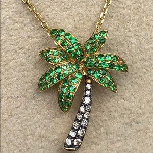 Jewelry - 18kt Gold palm tree pendant w/ green garnet & Dias